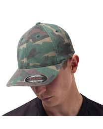 Garment washed camo cap