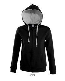 Contrasterende zip hoody, dames.
